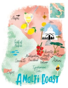 Amalfi Coast day tour map