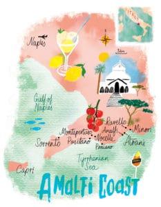 Amalfi Coast day tour map